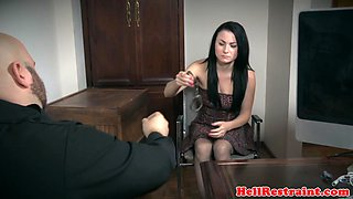 Bound submissive lady toyed by her maledom