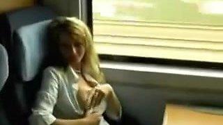 Allemande baisée dans les toilettes du train
