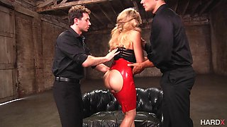 Gorgeous Nikky Thorne with sexy red dress gave two cocks a blow job.