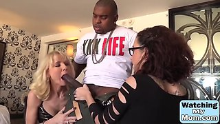 glorious mom and her kinky daughter are sharing a monster black cock