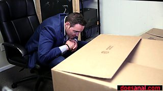Unboxing and anal fucking a petite small titted bride