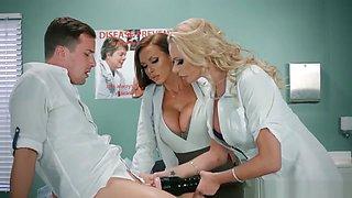 Doctor Nikki Benz and nurse Briana Banks treating a big stuck dick