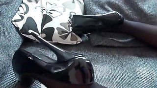 Slut in black leather latex gets fucked with creampie