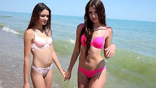 Diana barilova and anya hatri beach bikini thongs