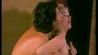 Mesmerizing blonde hottie in black stockings enjoys doggy style pounding