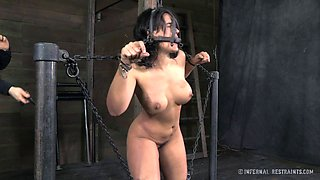 Big breasted love slave in shackles craves her master's touch