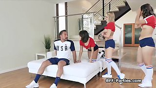 Soccer chicks sharing trainers dick in foursome