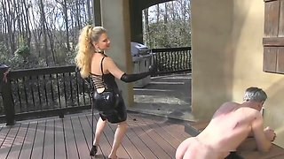 public whipping by blonde mistress