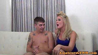 CFNM Femdom mistress wanks sub on webcam