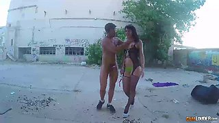 Smutty senorita with a shaved pussy is poked in the deserted alley