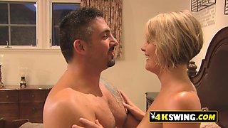 Mature swinger couple enjoys hot sex in the bedroom