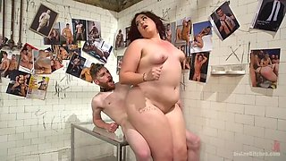 extra large bbw redhead mistress mimosa gets porked by skinny slave