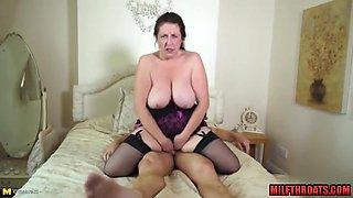 Brunette milf titty fuck with cumshot