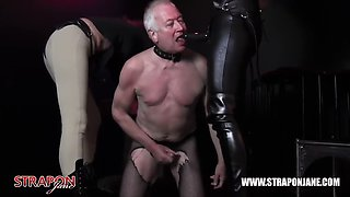 femdoms in latex dominate tag team sissy slut face fuck strapons and masturbate spunk in doggy bowl