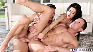Assfucked bisexual hunk jerksoff cum in trio