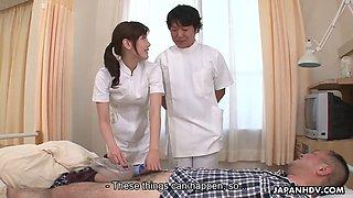 silly japanese nurse yuri konishi gives handjob & blowjob to a lucky patient
