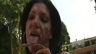 Four eyed brunette slut sucks several cocks like a real pro