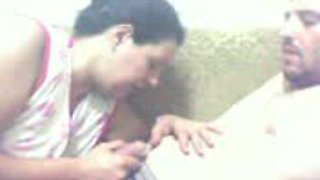Arab wife gives deep throat blowjob to her husband