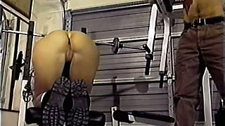 Curvy and sporty classic milf in the gym finds a man for a quickie