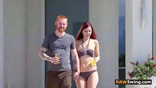 Redhead husband releases tension by seducing wife into some hot action