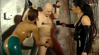 two dominatrix punished a slave