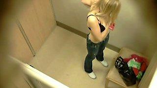 Three tight teenage babes get naked in locker room - hidden cam