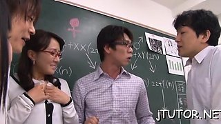 Stunning teacher rides a hard strapon passionately