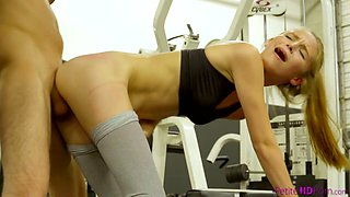 Apatite sport chick Ava Parker is fucked by one well endowed dude at the gym