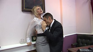 His stiff dick was more than enough to please a blonde secretary