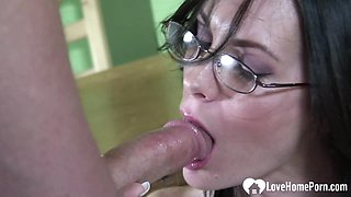 Hottie with glasses gets a hard rod
