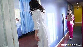 Curvy nurse Veruca pounded hardcore doggystyle in ffm