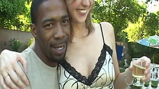 Blondes go wild for big black cocks at a party