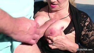 German Huge Tit MILF Seduce to Fuck by Step-Son