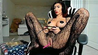 Fetish milf in fishnet stockings and pierced cunt spread her legs. Gamer.