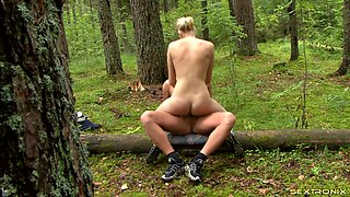 Ravishing blonde has untamed sex with her hung stud outdoors