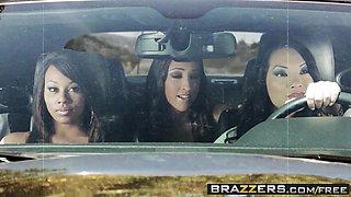 Brazzers - Pornstars Like it Big - Asa Akira Leilani Leeane Lizz Tayler James Deen - Death Proof A XXX Parody