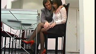 Boss fucks secretary in pantyhose