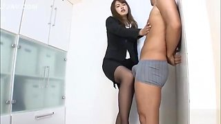 Naughty office worker Sumire sucks cock on her break