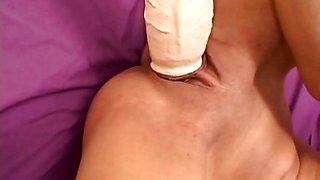 Kinky petite babe feeds her pussy a huge dildo