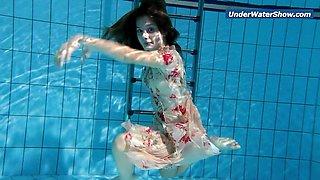 Cute Slowmo teen in Czech swimming