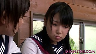 Petite Japanese schoolgirls threesome fucking