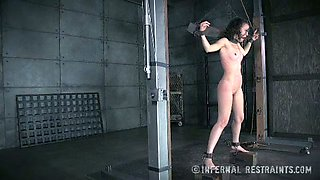 Titless slut is restrained and punished in the cold room