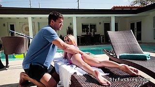 Blonde teen bangs pool guy in backyard