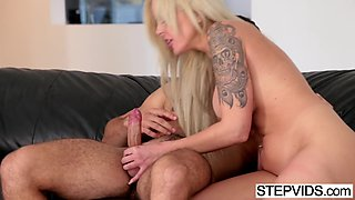 Busty mom Nina Elle seducing her stepson