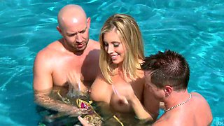 Super hot and kinky blonde babe got fucked in the swimming pool