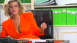 Sexy hot blonde bossy lady watches how another lady masturbates in her office