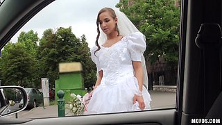 teen bride with long hair pounded in car fucking scene