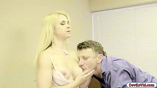 Blonde Sarah seduces her boss and fucks