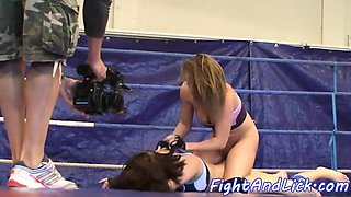 Lesbo babe dildoed in pussy after wrestling