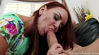 Nasty redhead mommy Janet Mason gives head to  Trent Forrest